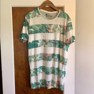 Pull&Bear Striped Floral Tee